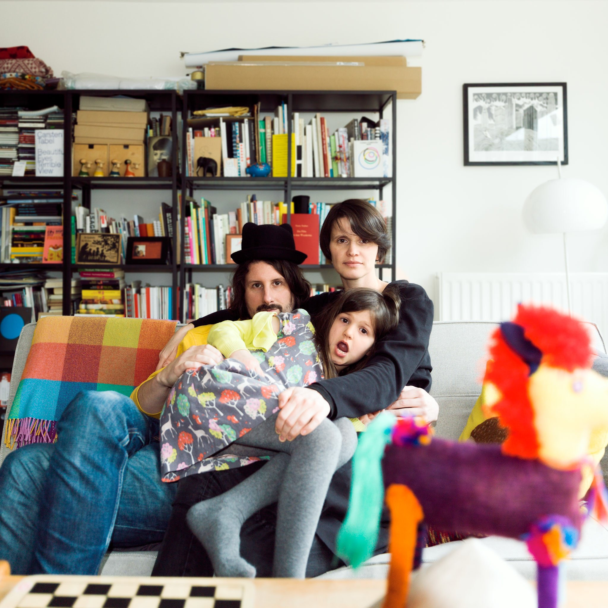Anja, Dom and Molly – graphic designer, academic and sound designer – photographed at home in South London for Project Living Abroad