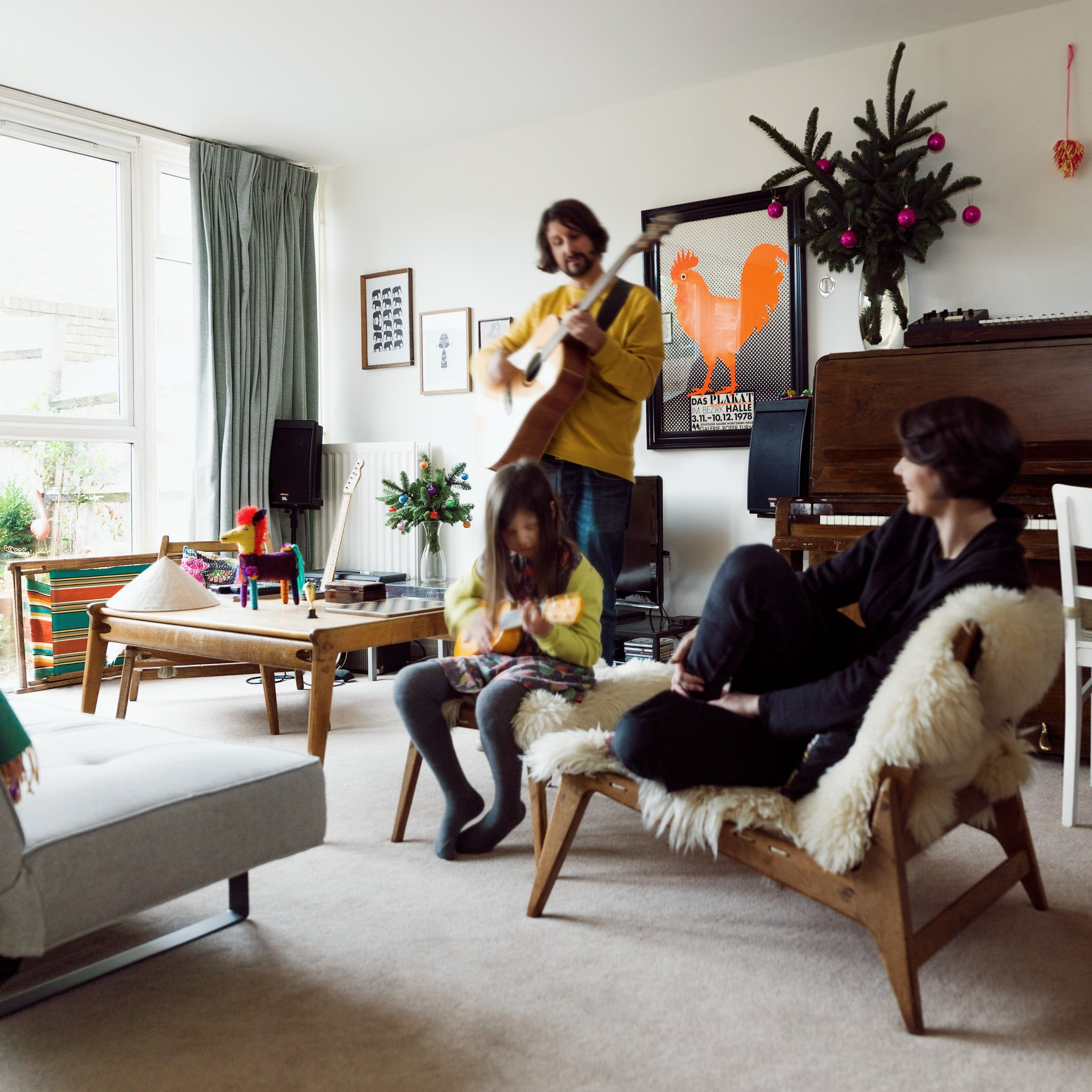 Anja, Dom and Molly at home in South London – photographed for Project Living Abroad